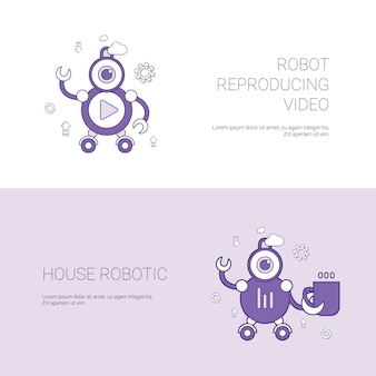 Robot reproducing video and house robotic concept template web banner with copy space