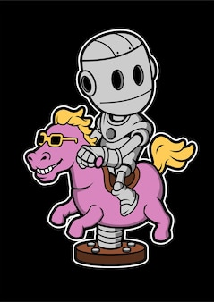 Robot riding horse hand drawn illustration