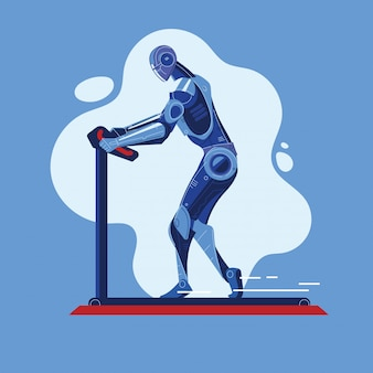 Robot runs on a treadmill do sport fitness working out in gym concept