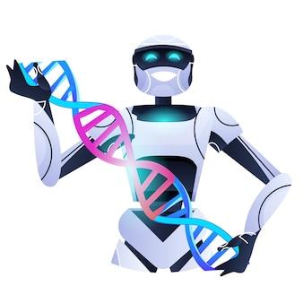 Dnaスパイラルロボット研究者を保持しているロボット科学者が実験室で実験を行っているdnaテスト遺伝子診断人工知能コンセプトポートレート
