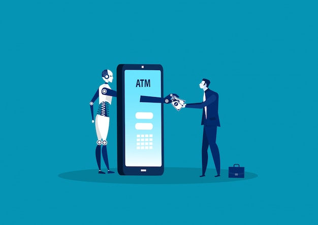 Робот-сервис cash express с банкоматом для оплаты финансовых транзакций