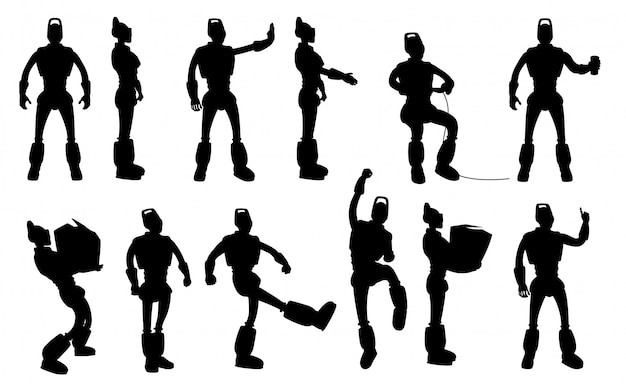 Robot silhouettes set in different poses