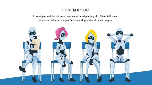 Robot sit on chair in queue wait for job interview