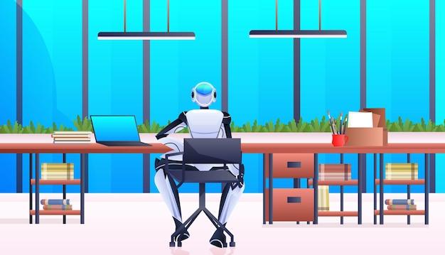 사무실 인공 지능 기술 개념 수평 전체 길이에서 작업하는 직장 로봇 사업가에 앉아 로봇