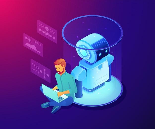 Robot software concept isometric illustration.