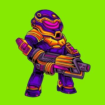 Робот-солдат держит лазерную пушку