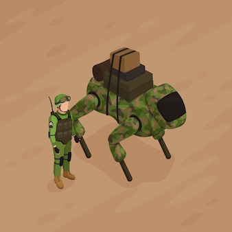 Robot soldier isometric illustration