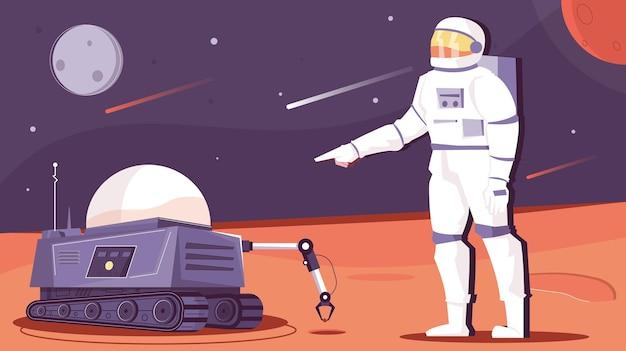 宇宙飛行士のイラストが描かれたロボット空間