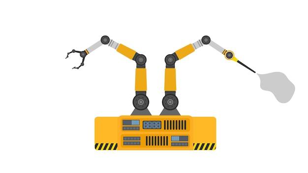 로봇 스프레이 페인트. 산업용 로봇 팔. 현대 산업 기술입니다. 제조 기업용 기기.
