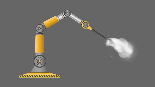로봇 스프레이 페인트. 산업용 로봇 팔. 현대 산업 기술.
