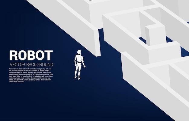 미로 앞에 서있는 로봇. 문제 해결 및 아이디어 찾기를위한 ai 개념.