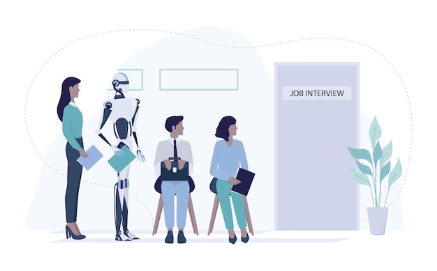 Robot standing in queue with candidate for a job interview in front of a human resources office. idea of artificial intellegence replacement.  illustration