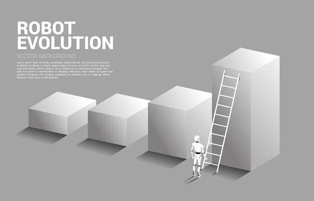 사다리가있는 막대 그래프에서 위로 이동하는 로봇. 인공 지능 및 기계 학습 작업자 기술의 개념.