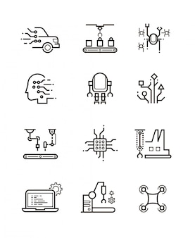 Engineering and manufacturing icons set. thin line style