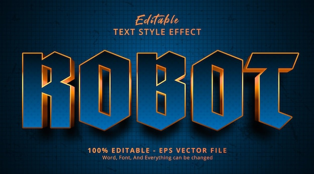 Robot text on blue and gold color gradient style, editable text effect