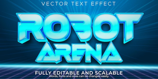 Robot text effect, editable futuristic and retro text style