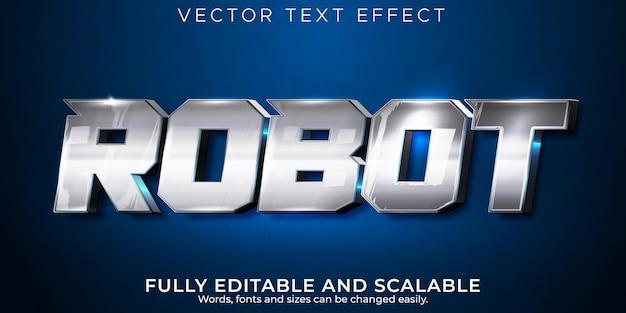 ロボットテキスト効果、編集可能なメタリックおよびテクノロジーテキストスタイル