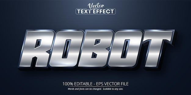 로봇 텍스트 반짝이 은색 스타일 편집 가능한 텍스트 효과