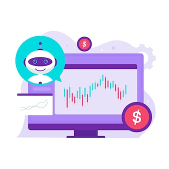 Робот-помощник трейдера на концепции дизайна иллюстрации фондового рынка. иллюстрация для веб-сайтов, целевых страниц, мобильных приложений, плакатов и баннеров.