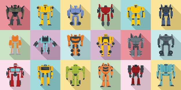 Robot-transformer icons set
