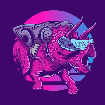 Robot triceratops dinosaur on the background of the sun in the style of the 80s