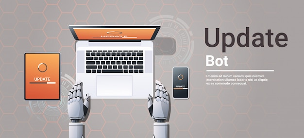 Robot updating digital devices