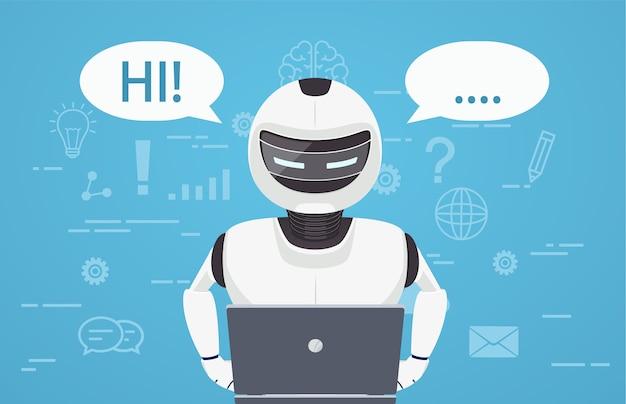 로봇은 랩톱 컴퓨터를 사용합니다. 가상 온라인 비서 인 채팅 봇의 개념.
