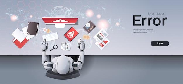Робот с использованием цифровых устройств ошибка веб-шаблон