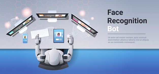 Robot using digital devices face scan recognition bot security system identification artificial