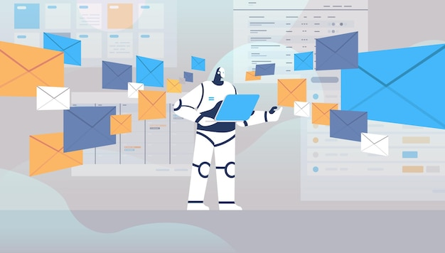 Робот, использующий ноутбук чат-бот, отправка и получение конвертов, электронных писем, онлайн-общение, концепция технологии искусственного интеллекта, полная длина, горизонтальная векторная иллюстрация