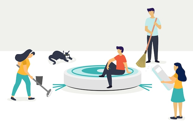 로봇 진공 청소기 가사 및 기술 평면 작은 가정 청소 직업을 돕는