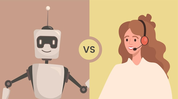 Robot versus woman vector flat illustration people cooperate or confrontation