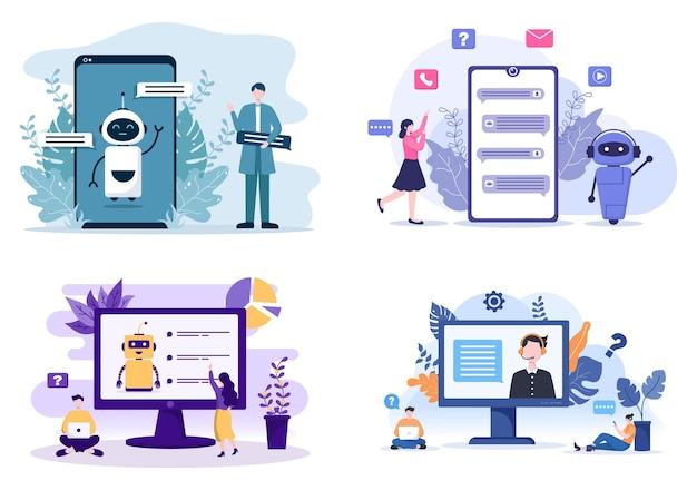 Робот виртуальная помощь или чат-бот фон векторные иллюстрации. общение людей со смартфоном с онлайн-службой технической поддержки и обменом сообщениями