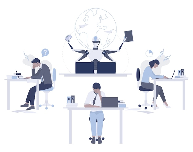 로봇 대 인간 개념. 인공 지능은 인간보다 빠르고 잘 작동합니다. 마감 아이디어. 기계와 사무실에서 일하는 사람들. 현대 로봇 기술 개념. 삽화