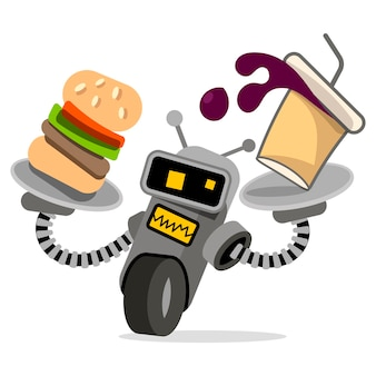 Robot waiter with tray and food vector illustration