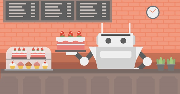Robot waiter working at pastry shop.