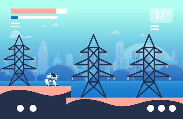 Робот идет рядом с высокой электрической башней онлайн-платформа концепция уровня видеоигры экран компьютера горизонтальная векторная иллюстрация