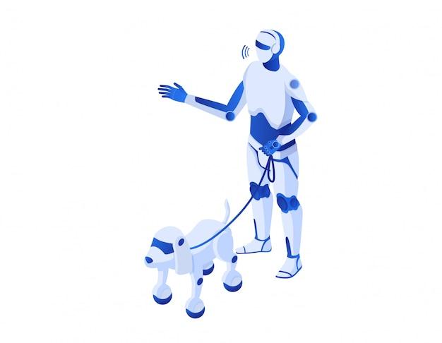 Robot walks robops isometric.. robotic illustration humanoid white cyborg robopes help technologies future.
