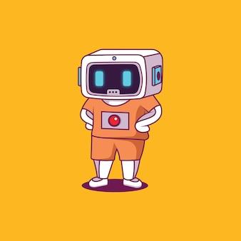 캐주얼 옷을 입은 로봇