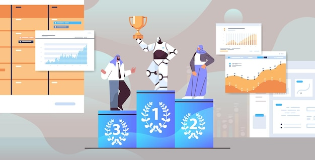 Robot winner getting first place and trophy on pedestal arab businesspeople loosing to automated machine competition artificial intelligence concept full length vector illustration