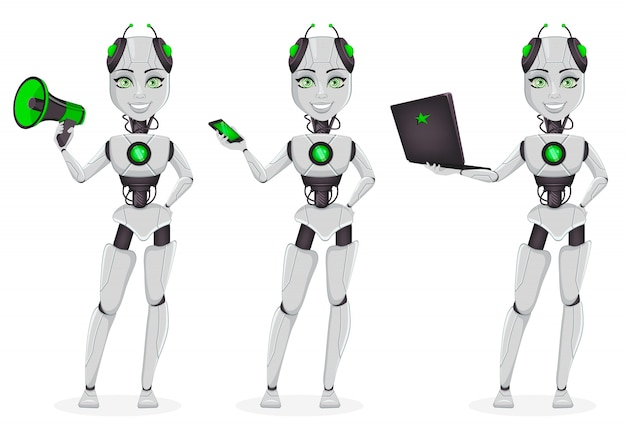 Robot with artificial intelligence, female bot