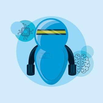 Робот с иконками, связанными с искусственным интеллектом