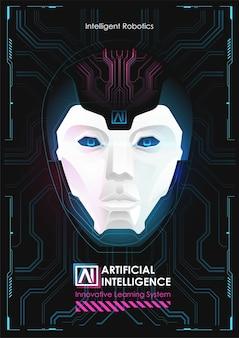 仮想インターフェースで動作する人工知能を備えたロボット。ビッグデータ。 aiの概念。ロボットの顔。サイバーマインド。技術の背景の概念。