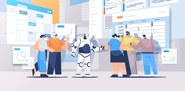 Robot with businesspeople analyzing statistics graphs and charts financial data analyzing artificial intelligence teamwork concept full length horizontal vector illustration