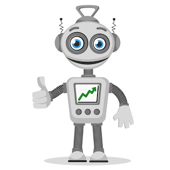 The robot with the graph up on the screen and hand gesture on a white background.