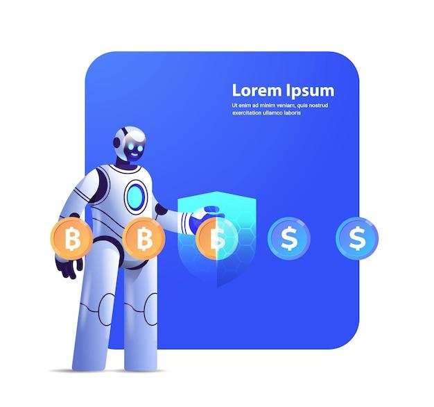 보호 방패가있는 로봇 비트 코인으로 달러 교환 암호화 통화 전자 화폐 금융 저축 보험 인공 지능