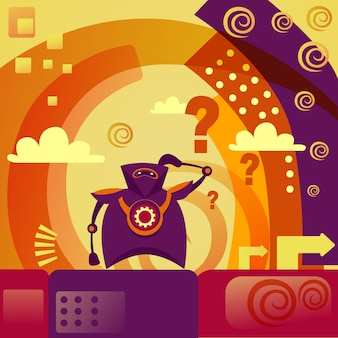 Robot with question mark abstract background problem task artificial intelligence concept