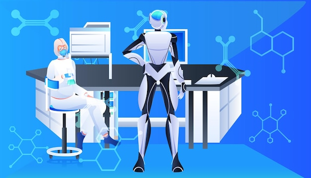 Robot with scientist in protective suit making experiments in lab genetic engineering artificial intelligence concept