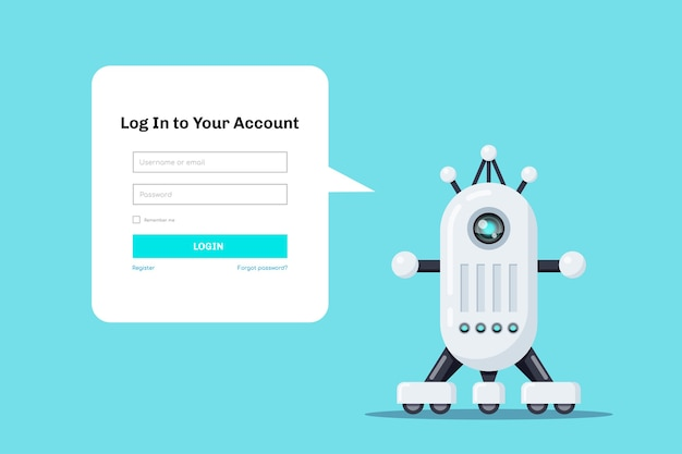 Robot with speech bubble for login form