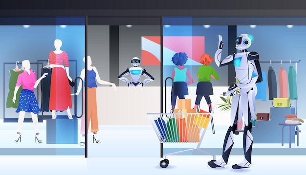 Робот с тележкой гуляет с покупками технологии искусственного интеллекта торговый центр интерьер полная горизонтальная векторная иллюстрация